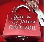 Remmo&Love Luxus Liebesschloss Rot Hochglanz mit individueller einseitiger Gravur GRATIS