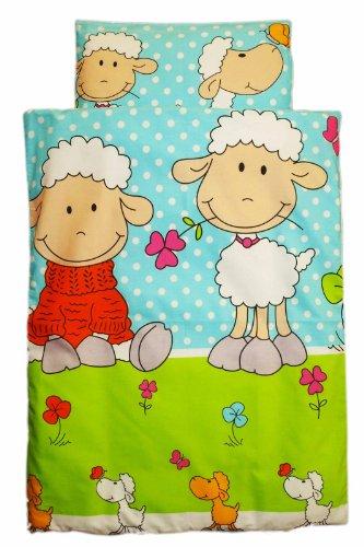 Amilian® Kinderwagenset Baby Bettwäsche Garnitur für Kinderwagen Kissen Decke NEU Schaf türkis