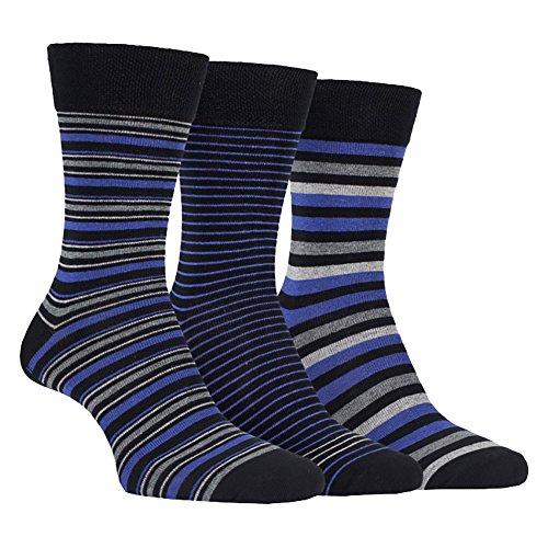 FARAH® - 3er Pack Herren Baumwolle Bunt Muster Anzug Business Socken (39/45, CS115BKPR (Striped))