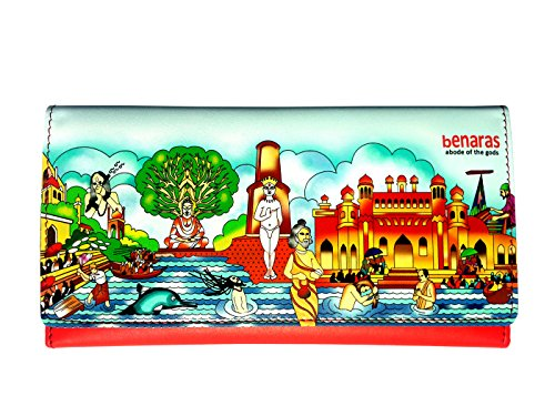 Designer Color Tri-fold Women Wallet Clutch Ladies Purse with Benaras Theme + 1 Wrist Band Free