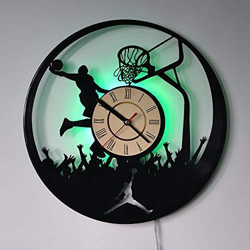 Yushufang Schallplatte Wanduhr, Led Licht 12 Zoll Retro Wanduhr Batteriebetriebene Dekorative Stumm Dekorative Uhr für Freunde Geschenk - Licht Bad-fan Ruhiges Mit