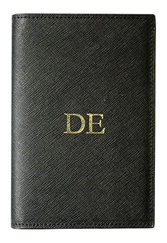 onalisiert mit Namen, Initialen aus Saffiano Echt-Leder, Reisepassetui mit Monogramm, Ausgefallen für Damen und Herren, Geschenk zur Hochzeit ()
