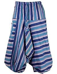 Guru-Shop Goa Pluderhose, Gestreifte Aladinhose mit Tasche, Herren, Baumwolle, Size:48, Männerhosen Alternative Bekleidung