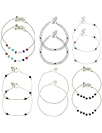 Beadworks Multicolor Metal Strand Anklet(Set Of 6) For Women