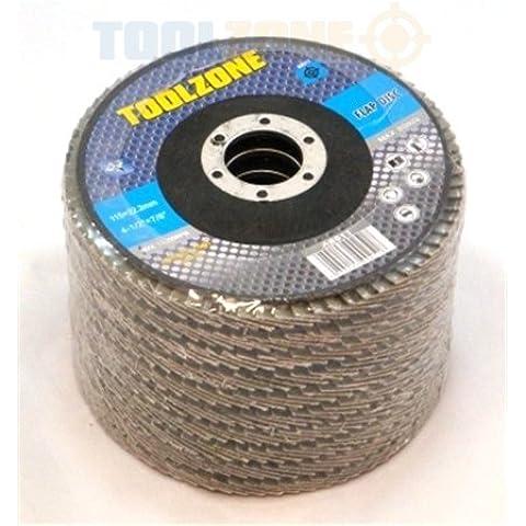 Toolzone - Disco abrasivo de láminas (12 unidades, grano 40, 115 mm x 11,43 cm)