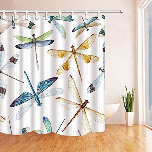 CDHBH Watercolor Libelle Dusche Vorhänge in Badewanne Watercolor Bug Schmetterling Schimmelresistent Stoff Bad Vorhang Vorhang für die Dusche Haken Enthalten 180,3x 180,3cm