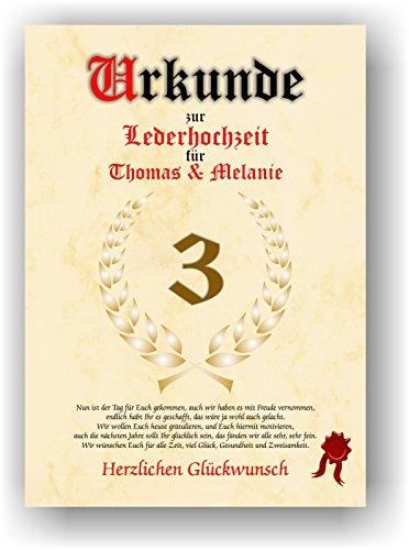 Urkunde zum 3. Hochzeitstag - Lederhochzeit - Geschenkurkunde Leder Hochzeit personalisiertes Geschenk Urkunde DIN A4