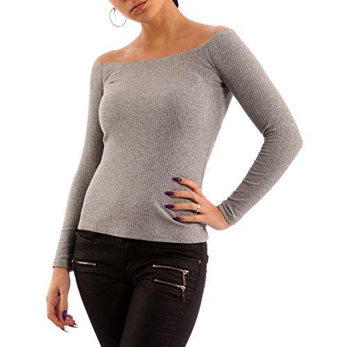 Damen Langarm Shirt Longsleeve Crop Top Carmen-Ausschnitt Grau