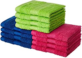 Solimo 12 Piece 500 GSM Cotton Face Towel Set - Multicolour