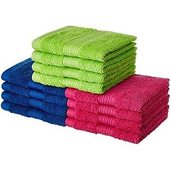 Amazon Brand - Solimo 100% Cotton 12 Piece Face Towel Set, 500 GSM (Multicolour)