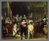 Rembrandt Die Nachtwache Poster Kunstdruck Bild im Alu Rahmen in Champagne 62x77cm - Germanposters