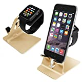 Orzly® - DuoStand Charge Station for Apple Watch & iPhone - Desk Stand Cradle (Soporte de Aluminio) en ORO con Espacios de Inserción para ambos Grommet Cargador y Lightning Cable para su uso como un completo y funcional Base de Carga (Charging Dock) para su Apple Watch y el iPhone simultáneamente - Para iPhone Modelos: 5 / 5S / 5C / 6 /6 PLUS y ambos 42mm y 38mm tamaños de 2015 AppleWatch (Original BASIC Modelo / SPORT Model / EDITION Versión)