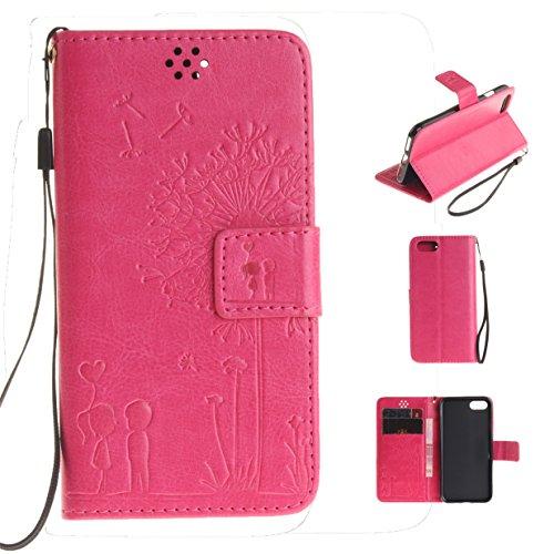 WYSTORE Premium Folio Cuir [Pissenlit Violet Motif] Embossing Portefeuille avec Cordon Lanyard Retro Housse pour Apple iPhone 7,Support Flip PU Leather Wallet Case (rose) Rose Rouge