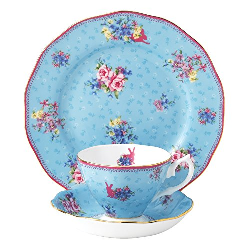 Royal Albert Candy Honey Bunny Teetasse/Untertasse/Teller-Set, Bone China Porzellan, Mehrfarbig, 20cm, Set von 3 Royal Albert Bone China