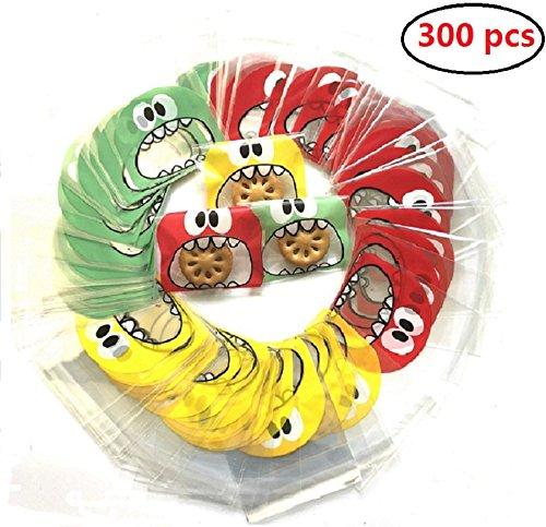300pcs Bolsa de Caramelo Cajas de Tartas Cookie Panadería Biscuit Feliz Navidad Regalo Plástico (Big mouth)