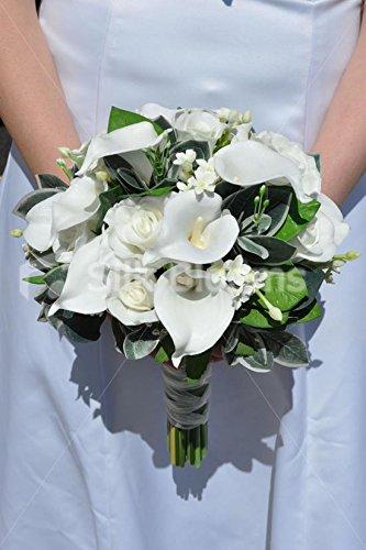 Weiß Calla Lilie und frischem Touch Rose Bridal Hochzeit Bouquet (Rustikale Bouquet)
