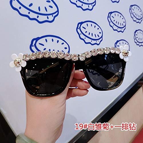 MOJINGYAN Sonnenbrillen,Sommer Sonnenbrille Frauen Süße Blume Mit Strass Runde Sonnenbrille Vintage Retro Gläser Für Beach Damen Schattierungen