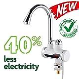 EuroQuality Elektrische Wasserhahn Hahn Spültisch Armatur+Kalt & Heiß Schalter Mit LED Anzeige & Sofortiger elektrischer Heizung & Warmwasserbereiter