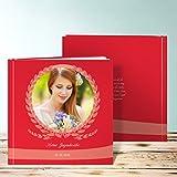 Fotobuch zur Jugendweihe, Getreidezopf 28 Seiten, Hardcover 215x215 mm personalisierbar, Rot