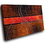 AB516B gerahmte Leinwanddruck Bunte Wand-Kunst - Braun Rot Schwarz-Streifen - modernes abstraktes Wohnzimmer Schlafzimmer Bild Stück Wohnkultur Interior Design Einfach Hang Guide (40x30cm)
