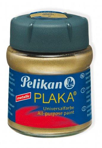 Pelikan 101238 - Bastelfarbe Plaka, Glas Ton 61, 50 ml, gelbgold