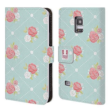 Head Case Designs Rosen Tapeten Französische Land Muster Brieftasche Handyhülle aus Leder für Samsung Galaxy S5 mini