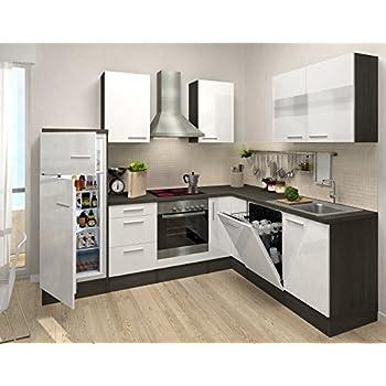 Respekta premium l form winkel küche küchenzeile eiche weiss 260x200cm kühlkombi ceran umluft