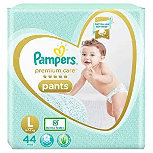 Pampers Premium Care Pants, Large size baby diapers (LG), 44 Count, Softest ever Pampers pants