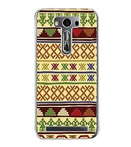 Fiobs Designer Back Case Cover for Asus Zenfone 2 Laser ZE500KL (5 Inches) (Multicolor Ethnic Design Green)