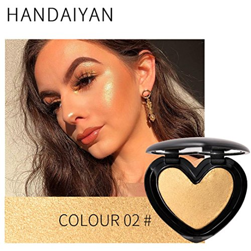 Cooljun 3D Shimmer Poudre Highlighter Palette Face Base Base Illuminator Maquillage bronzers Highlight Contour Silver Golden (B)