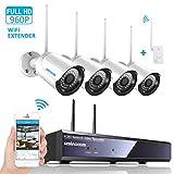 Kit Telecamera Videosorviglianza,SZSINOCAM Telecamera Sorveglianza Wifi(4CH 1080P NVR + 4 x 960P 2.4GHZ Impermeabile IP66 Telecamera Esterno) P2P, IR-CUT, Visione Notturna, Allarme Email NO HDD