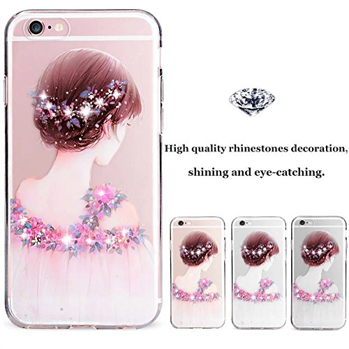 Cover Per iPhone 6 Plus / 6s Plus 5.5 Bling Glitter, Custodia Design Emoticon multicolore Trasparente Plastica Con Sabbia Mobili Blu Brillanti ,Vandot Shell 3D Quicksand Case Con Stella Fluente Liqui bambina
