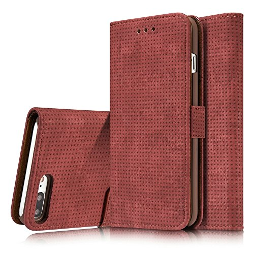 GR PU-Leder Folio Stand Wallet Case Cover mit Kickstand Card Slots für iPhone 7 Plus und 8 Plus ( Color : Yellow ) Red