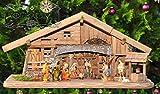 80 cm Weihnachtskrippe, Oelbaum-Krippe K80-MF-BRK- ca. mit LED + Brunnen + Dekor, Massivholz historisch braun - mit 12 x PREMIUM-Krippenfiguren + goldener Engel - auf Wunsch* Krippe mit Beleuchtung, Trafo und Krippen - Lämpchen / Laterne