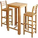 Festnight 3-Teiliges Barset Tisch- und Hocker-Set Bartisch und Barhocker aus Massives Akazienholz Sitzgruppe Esszimmergarnitur