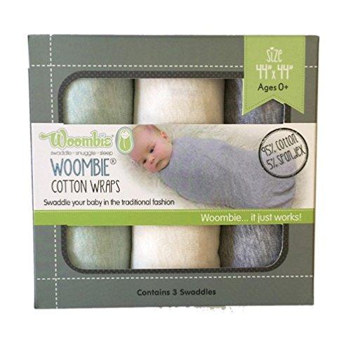 Woombie Baumwolle Wickeltücher, mint/creme/grau, 3Stück
