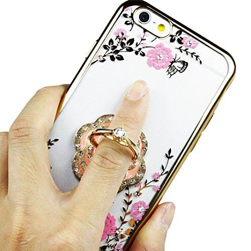 Asnlove Ring Holder Supporto Anello Ring Grip con Bling Diamante 360 Rotazione di 360 Gradi Proteccion Case Cover Designo Cisne per Smartphone Cellulari iPhone 5/6/6 plus,Samsung Galaxy S4/S5/S6,Htc M color-1