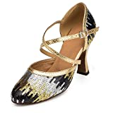 URVIP Neuheiten Frauen's Pailletten Heels Absatzschuhe Moderne Latein-Schuhe mit Knöchelriemen Tanzschuhe LD026 Gold 43 CN