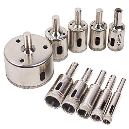 TINGSU 10 Diamant-Werkzeug Lochsägen-Set für Glas, Keramik, Marmor, 6-50 mm Pro