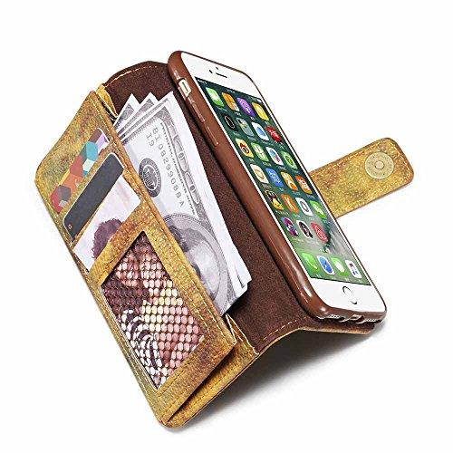 Custodia iPhone 7, Custodia iPhone 8 [Protezione libera dello schermo], Dfly Foresta Stile PU Pelle Especially Powerful Portafoglio Funzione Design Chiusura Magnetica Flip Cover Per iPhone 7 / iPhone  Giallo