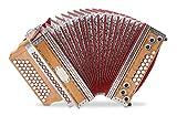 "Alpenklang 4/III Harmonika ""Deluxe"" G-C-F-B Kirsch (Steirische Harmonika/Knopfakkordeon, Blumendesign, Holz, mit Koffer und Riemen)"