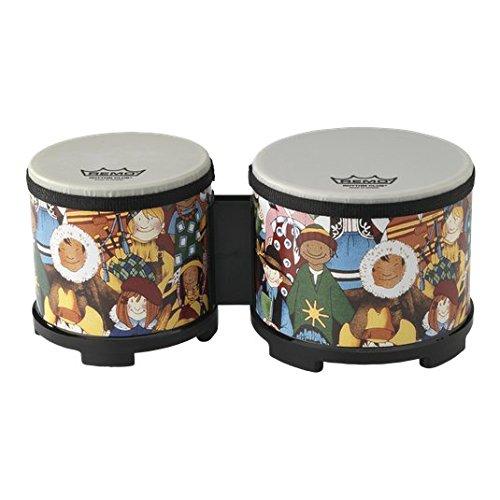 Remo RH-5600-00 Rhythm Club Bongo Drm. 5 Zoll und 6 Zoll Höhe 4.5 Zoll, Renaissance Felle fest vorgestimmt, für Kinder ab 3 Jahren