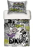 "beties ""Graffiti-Move"" Jugend Wende Bettwäsche-Set 135x200/80x80 cm Digitaler Biking-Druck Feinste Baumwolle Graphit"