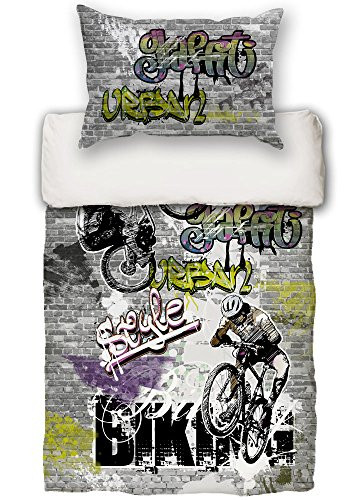 beties Graffiti-Move Jugend Wende Bettwäsche-Set ca. 155x220/80x80 cm digitaler Biking-Druck feinste Baumwolle Graphit