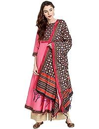 Janasya Women's Pink Poly Silk Anarkali Digital Print Kurta With Dupatta