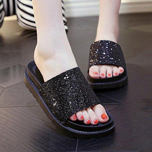 Saingace Frauen Sommer Peep-Toe Low Schuhe Römische Sandalen Damen Flip Flops Schwarz