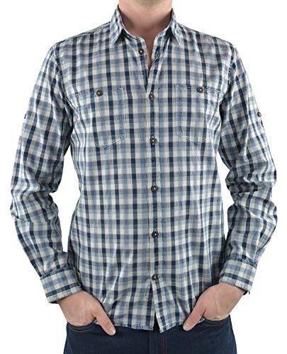 TOM TAILOR Herren Langarm Freizeithemd Ray washed indigo check shirt/603 Blau
