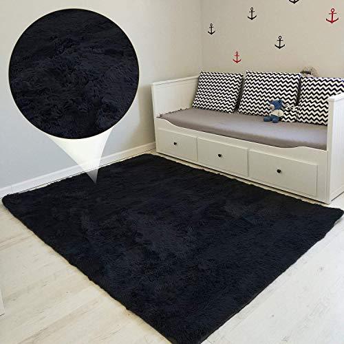Amazinggirl tappeto shaggy camera soggiorno salotto moderno - a pelo lungo design lavabile per camera dei bambini, colori soggiorno tra cui scegliere nero