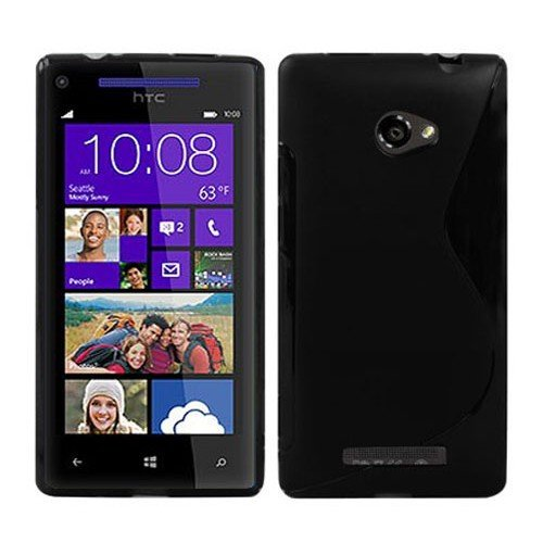 fitmore Replacement for HTC Windows Phone 8X S Cover Shockproof Case Phone Case Slim - Black (Windows Phone Covers Htc)