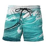 ZEZKT-Herren Bedruckte Shorts Badehose | Beiläufige Shorts für Männer mit Taschen | Jungen Kurze Hosen Große Größen Freizeitshorts Trunks Sporthosen Badebekleidungs Strand Kurze Hosen (M, Blau)